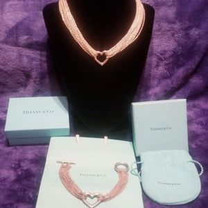 Tiffany & co matching mesh toggle heart set